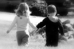 holding-hands-b-w kids