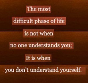 The most difficult phase of life is not when no one understands you; It is when you don't understand yourself.