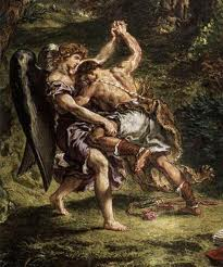 A man wrestling an angel