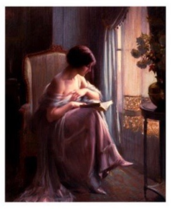 A woman reading at the window
