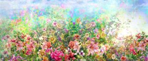 An expanse of flowers stretching across a field